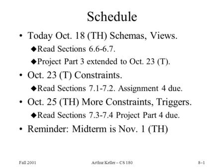 Fall 2001Arthur Keller – CS 1808–1 Schedule Today Oct. 18 (TH) Schemas, Views. u Read Sections 6.6-6.7. u Project Part 3 extended to Oct. 23 (T). Oct.