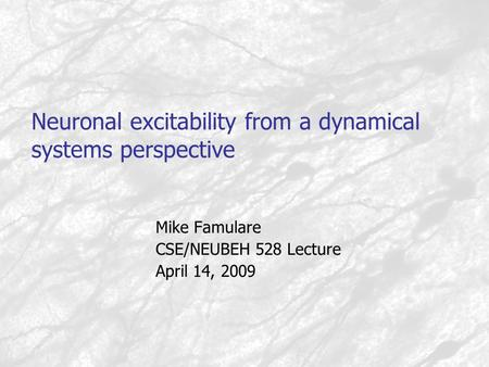 Neuronal excitability from a dynamical systems perspective Mike Famulare CSE/NEUBEH 528 Lecture April 14, 2009.