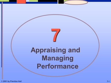 © 2001 by Prentice Hall 7-1 7 Appraising and Managing Performance.