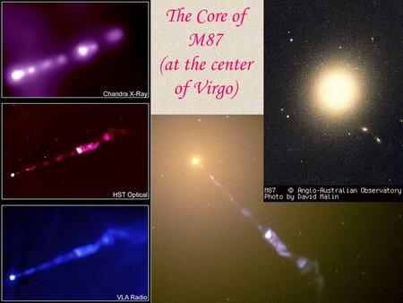 The Core of M87 (at the center of Virgo). Radio Jets.