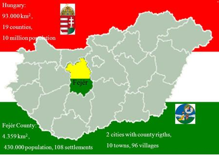 Hungary: 93.000 km 2, 19 counties, 10 million population Fejér County: 4.359 km 2, 430.000 population, 108 settlements Fejér 2 cities with county rigths,