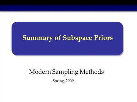 Modern Sampling Methods Summary of Subspace Priors Spring, 2009.