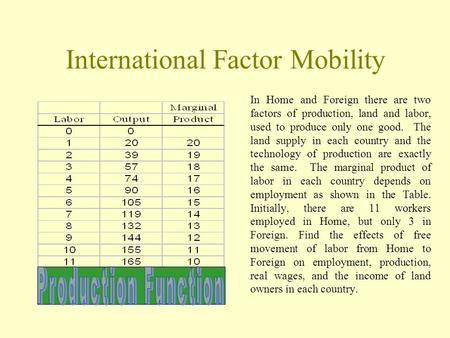 International Factor Mobility