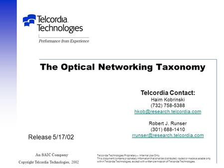 The Optical <strong>Networking</strong> Taxonomy