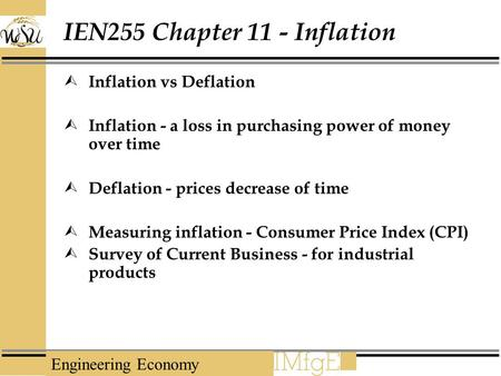 IEN255 Chapter 11 - Inflation