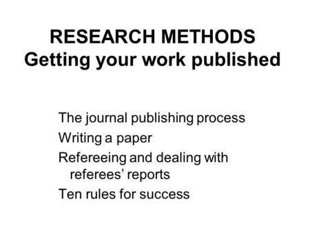 refereeing a research paper And you have to read the text, not as if it's the paper you would have written if you' d done this bit of research, but rather as the research and.