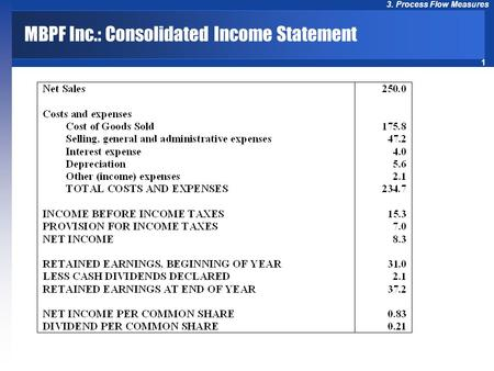 1 3. Process Flow Measures MBPF Inc.: Consolidated Income Statement.