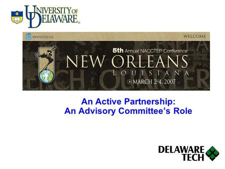 An Active Partnership: An Advisory Committee's Role.