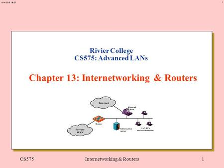 1 6/14/2015 06:27 CS575Internetworking & Routers1 Rivier College CS575: Advanced LANs Chapter 13: Internetworking & Routers.