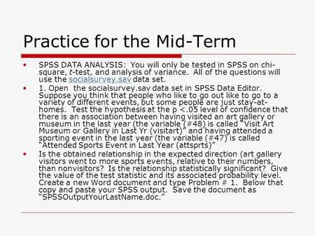 Practice for the Mid-Term