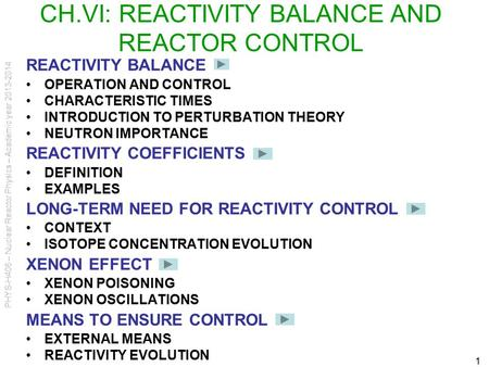PHYS-H406 – Nuclear Reactor Physics – Academic year 2013-2014 1 CH.VI: REACTIVITY BALANCE AND REACTOR CONTROL REACTIVITY BALANCE OPERATION AND CONTROL.