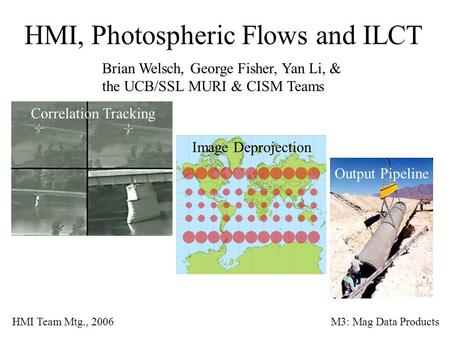 HMI, Photospheric Flows and ILCT Brian Welsch, George Fisher, Yan Li, & the UCB/SSL MURI & CISM Teams HMI Team Mtg., 2006M3: Mag Data Products Correlation.