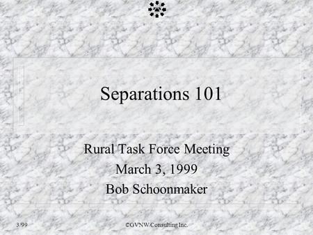 3/99©GVNW Consulting Inc. Separations 101 Rural Task Force Meeting March 3, 1999 Bob Schoonmaker.