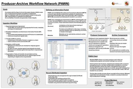 Producer-Archive Workflow Network (PAWN) Goals Consistent with the Open Archival Information System (OAIS) model Use of web/grid technologies and platform.