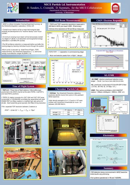 Printed by www.postersession.com MICE is a Muon Ionization Cooling Experiment running at the Rutherford-Appleton Laboratory, Chilton UK. Cooled muon beams.