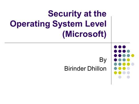 Security at the Operating System Level (Microsoft) By Birinder Dhillon.