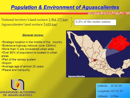 Population & Environment of Aguascalientes National territory's land surface: 1 964 375 km² Aguascalientes' land surface: 5 618 km² 0,3% of the entire.