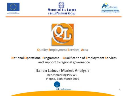 National Operational Programme – Qualification of Employment Services and support to regional governance Quality Employment Services Area Italian Labour.