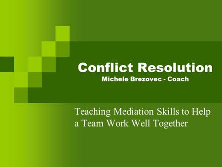 Conflict Resolution Michele Brezovec - Coach Teaching Mediation Skills to Help a Team Work Well Together.