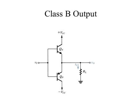 Class B Output. Biasing the Class B Output * No DC current is used to bias this configuration. *Activated when the input voltage is greater than the Vbe.