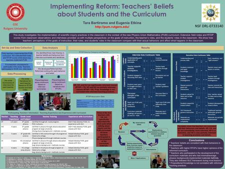 Implementing Reform: Teachers' Beliefs about Students and the Curriculum Tara Bartiromo and Eugenia Etkina  GSE Rutgers University.