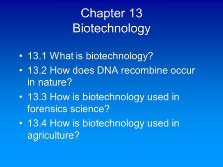 Chapter 13 Biotechnology