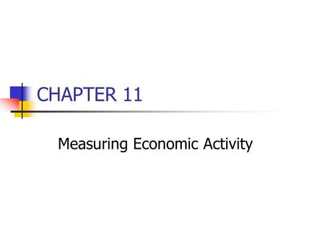 CHAPTER 11 Measuring Economic Activity. Business Cycle Alternating periods of economic expansion and contraction Recovery Inflation Peak Recession Depression.