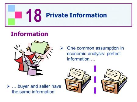 18 Private Information Information  One common assumption in economic analysis: perfect information …  … buyer and seller have the same information.