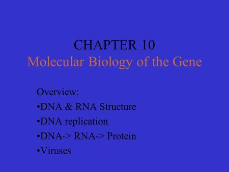 CHAPTER 10 Molecular Biology of the Gene