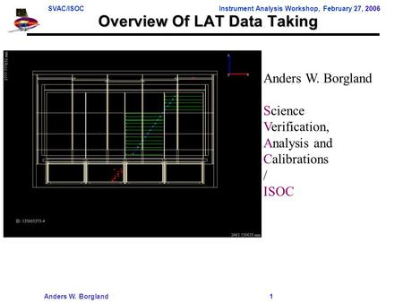 SVAC/ISOCInstrument Analysis Workshop, February 27, 2006 Anders W. Borgland 1 Overview Of LAT Data Taking Anders W. Borgland Science Verification, Analysis.