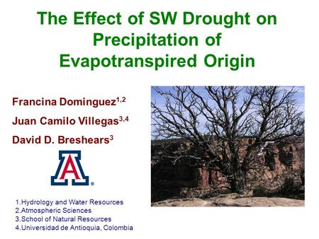 The Effect of SW Drought on Precipitation of Evapotranspired Origin 1.Hydrology and Water Resources 2.Atmospheric Sciences 3.School of Natural Resources.