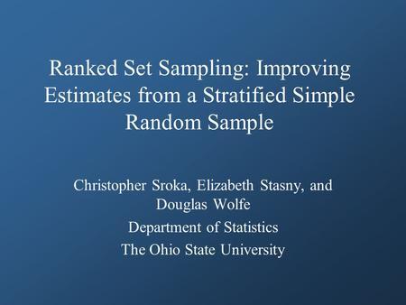 Dissertation Random Sampling