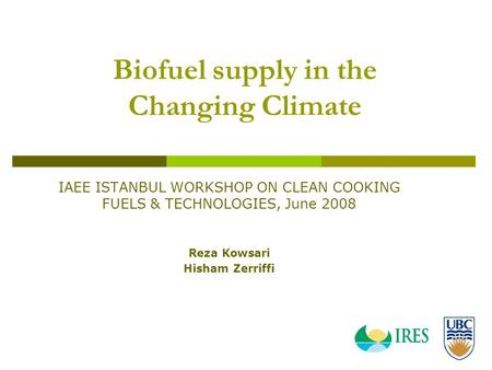 Biofuel supply in the Changing Climate IAEE ISTANBUL WORKSHOP ON CLEAN COOKING FUELS & TECHNOLOGIES, June 2008 Reza Kowsari Hisham Zerriffi.