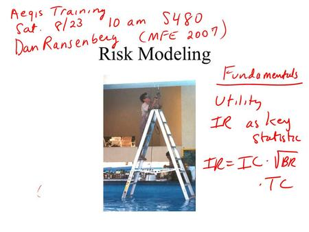 Risk Modeling. Defining Risk as Standard Deviation That's what Harry Markowitz used. It has several important and useful properties: –Symmetric –Well-understood.