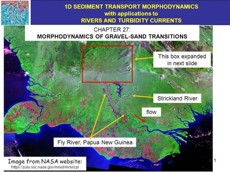 1D SEDIMENT TRANSPORT MORPHODYNAMICS with applications to RIVERS AND TURBIDITY CURRENTS 1 Fly River, Papua New Guinea CHAPTER 27: MORPHODYNAMICS OF GRAVEL-SAND.