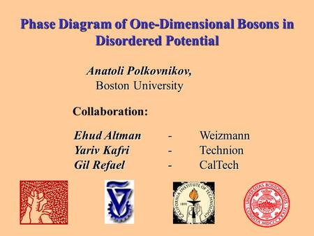 Phase Diagram of One-Dimensional Bosons in Disordered Potential Anatoli Polkovnikov, Boston University Collaboration: Ehud Altman-Weizmann Yariv Kafri.