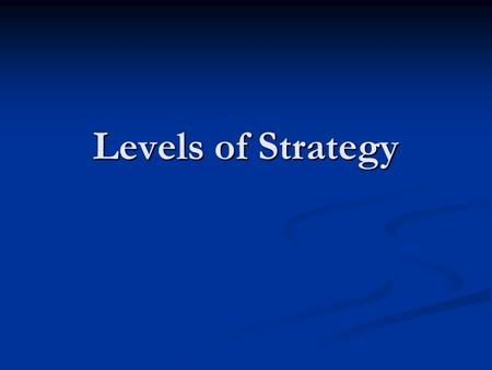 Levels of Strategy. Terms Arrange the following terms in a logical hierarchy: Arrange the following terms in a logical hierarchy: Company Company Division.