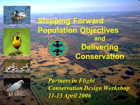 Stepping Forward Population Objectives Partners in Flight Conservation Design Workshop 11-13 April 2006 and Delivering Conservation.