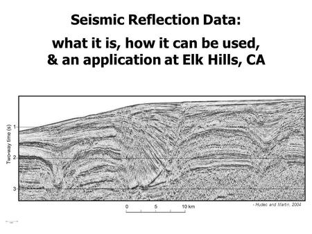 Seismic Reflection Data: what it is, how it can be used, & an application at Elk Hills, CA - Hudec and Martin, 2004.