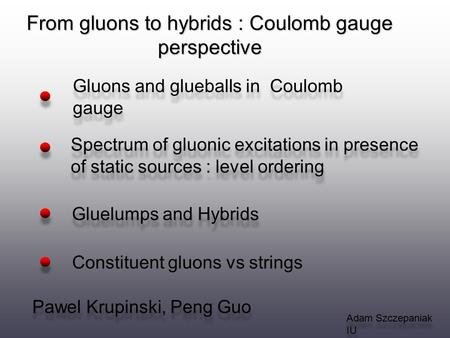 From gluons to hybrids : Coulomb gauge perspective Adam Szczepaniak IU Gluons and glueballs in Coulomb gauge Gluelumps and Hybrids Spectrum of gluonic.