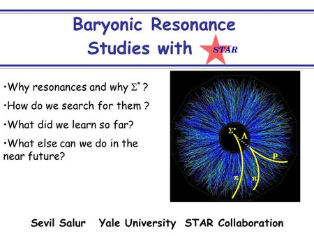 1 Baryonic Resonance Why resonances and why  * ? How do we search for them ? What did we learn so far? What else can we do in the.