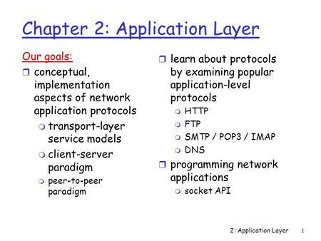 2: Application Layer1 Chapter 2: Application Layer Our goals: r conceptual, implementation aspects of network application protocols m transport-layer service.
