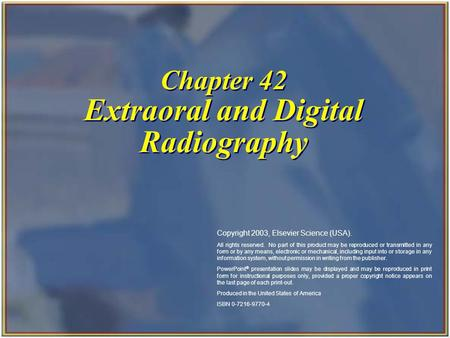 Chapter 42 Extraoral and Digital Radiography