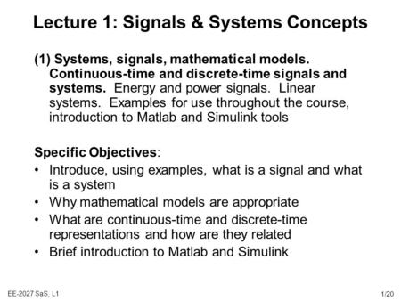 Lecture 1: Signals & Systems Concepts