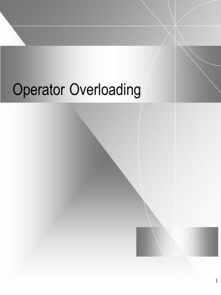 1 Operator Overloading. 2 Syntax The general syntax is: [friend] returntype operator ( ) { ; }