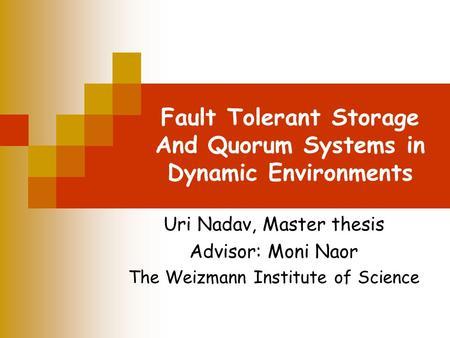 fault tolerance essay