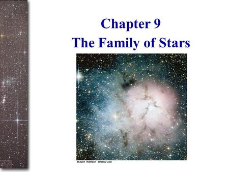 Slide 1 The Family of Stars Chapter 9. Slide 2 Part 1: measuring and classifying the stars What we can measure directly: – Surface temperature and color.
