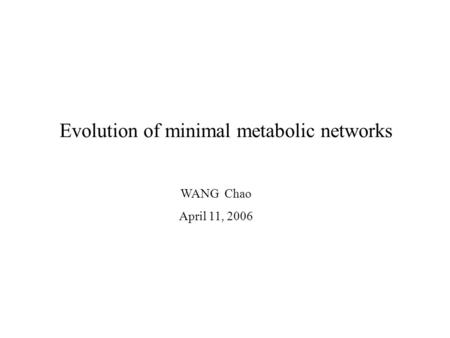Evolution of minimal metabolic networks WANG Chao April 11, 2006.