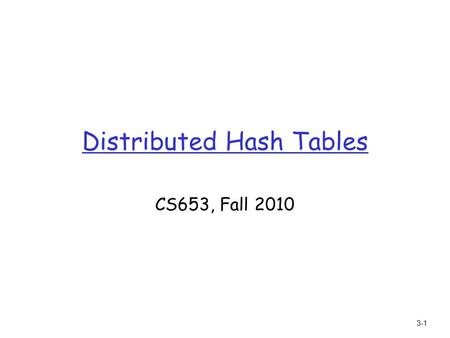 "3-1 Distributed Hash Tables CS653, Fall 2010. 3-2 Implementing insert/retrieve: distributed hash table (DHT) r Hash table m data structure that maps ""keys"""