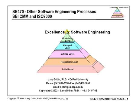 Copyright  2002 - Larry Dribin, Ph.D. SE470_OtherSEProc_v1_1.pp SE470 Other SE Processes - 1 Excellence in Software Engineering Repeatable Level Defined.